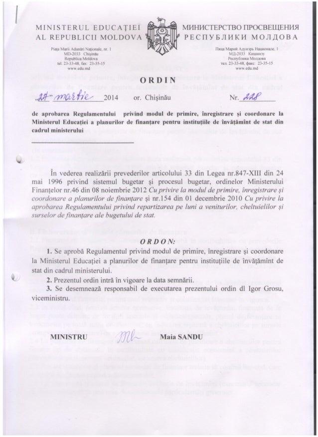 Ordin(1) regulament privind planurile de finanțare pentru instituțiile de învățământ