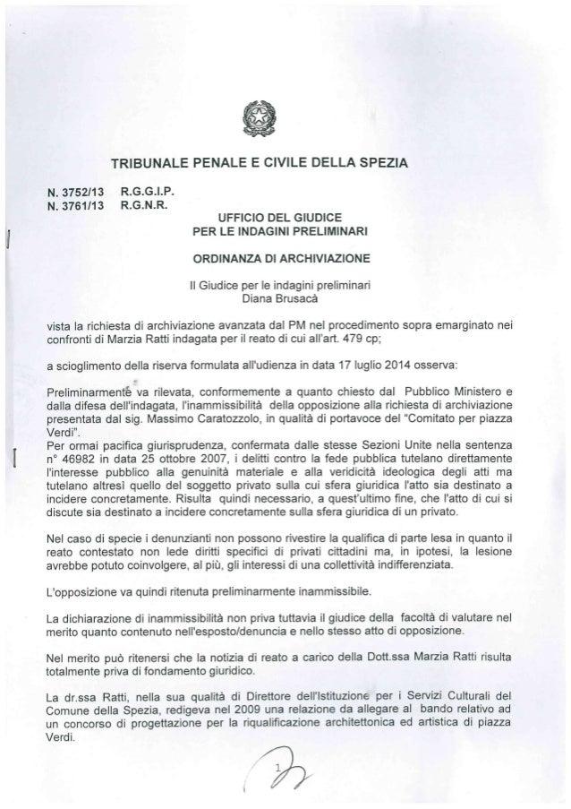 Ordinanza di archiviazione esposto penale su Piazza Verdi SP