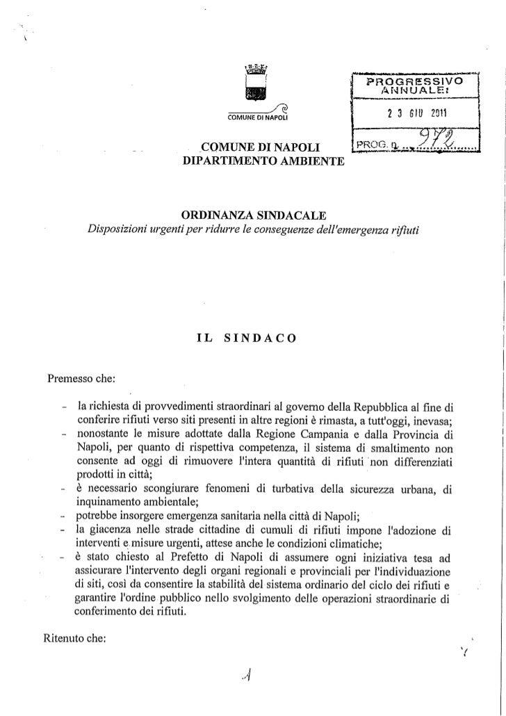 Ordinanza sindacale 972 del 23.06.2011