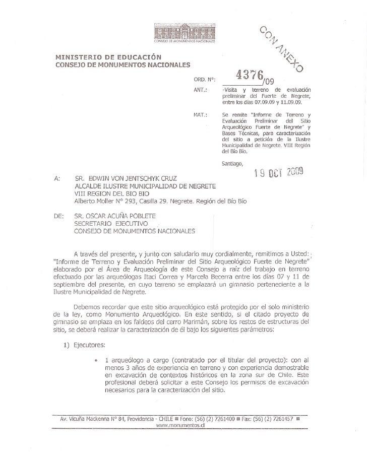 Ordinario 4376-09: informe de terreno y evaluacion preliminar del Sitio Monumento Arqueologico Fuerte de Negrete y bases t...