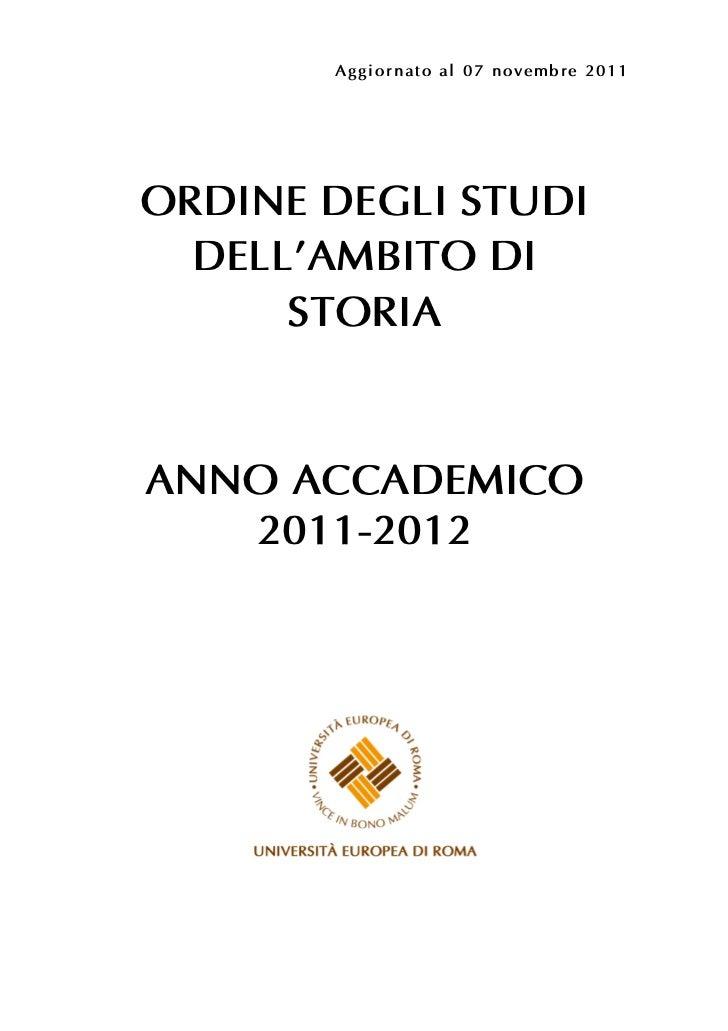 Ordine degli studi dell'Ambito di Storia Universita' Europea di Roma - anno accademico 2011/2012
