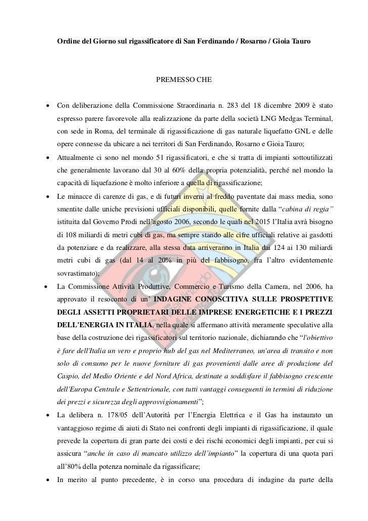 Ordine del giorno proposto contro il rigassificatore (Rosarno)