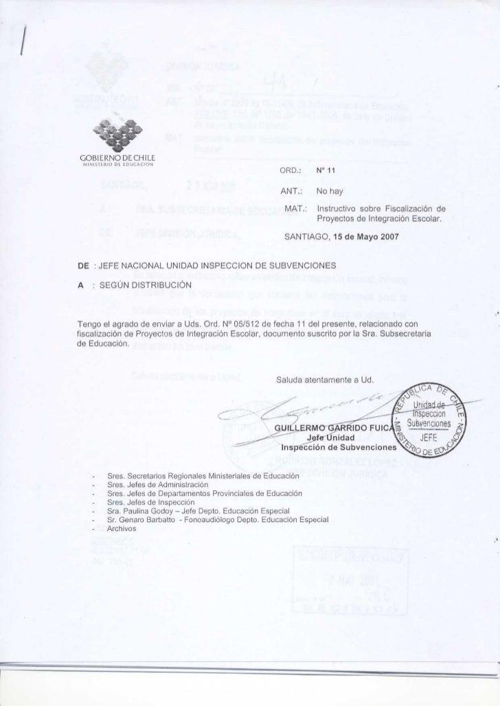 GOBIERNODECHILE MINISIERIO DE LDUCACION                                                         ORD . :   N° 11           ...