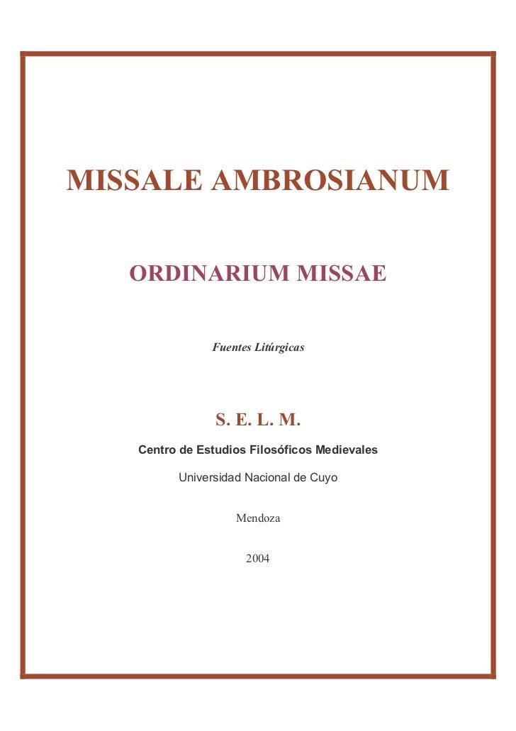 Ordo missae ambrosianum