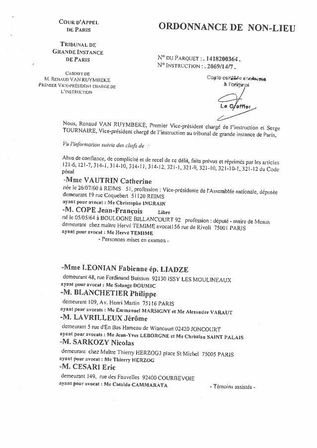 Ordonnance de non lieu - 07.09.2015