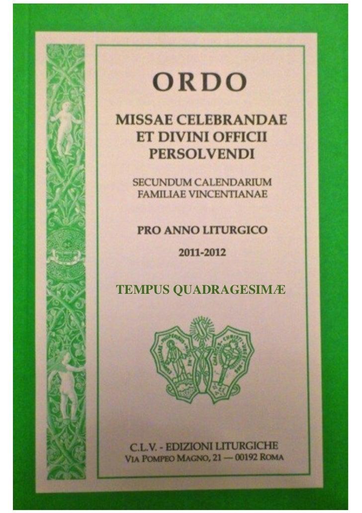 ORDO MISSAE... Calendarium Familiae  Vincentianae - Tempus Quadragesimae