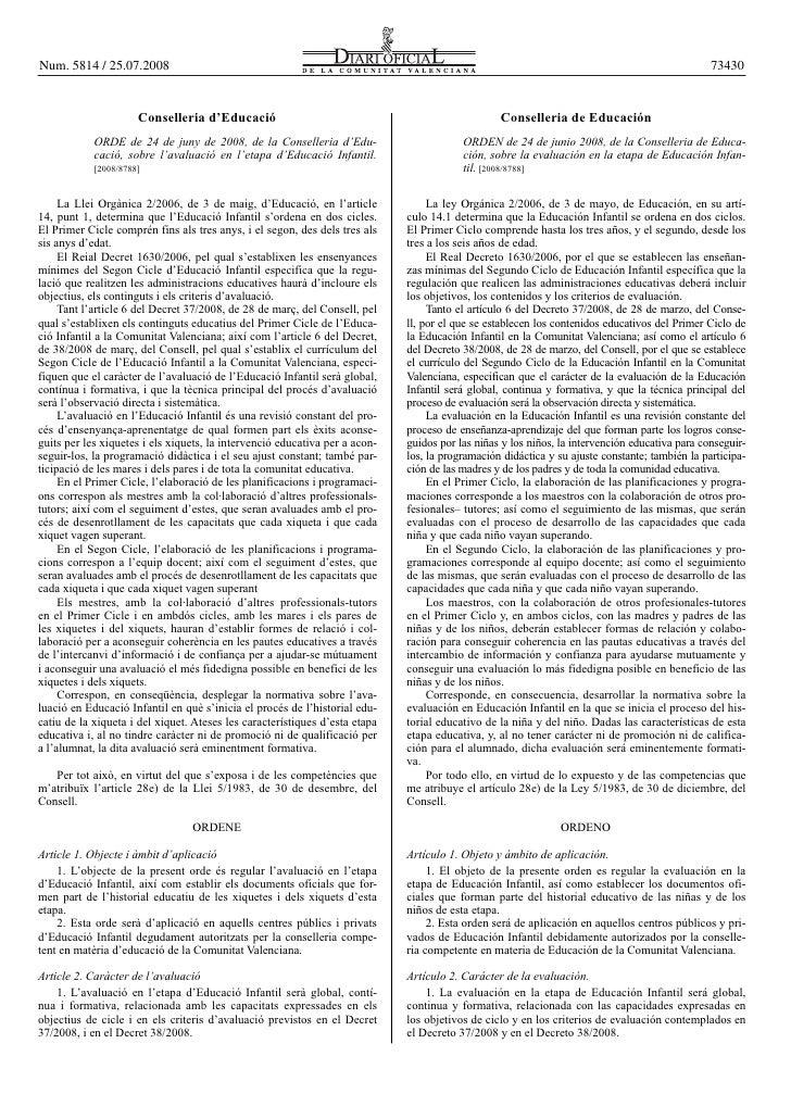 Ordre 24 juny 08 Evaluación en Educación Infantil