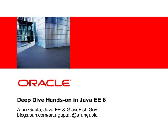 <Insert Picture Here> Deep Dive Hands-on in Java EE 6 Arun Gupta, Java EE & GlassFish Guy blogs.sun.com/arungupta, @arungu...