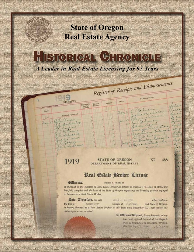 State of Oregon Real Estate Agency  Historical Chronicle A Leader in Real Estate Licensing for 95 Years