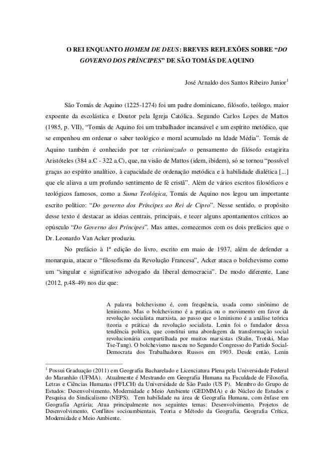 """O REI ENQUANTO HOMEM DE DEUS: BREVES REFLEXÕES SOBRE """"DO GOVERNO DOS PRÍNCIPES"""" DE SÃO TOMÁS DE AQUINO José Arnaldo dos Sa..."""