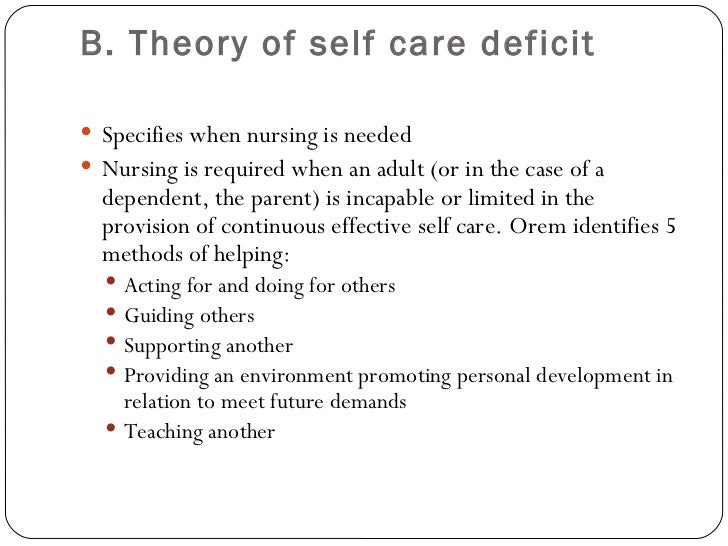 self care deficit theory Foundation of nursing the theory theory of self-care theory of self-care deficit theory of nursing system core the self-care deficit nursing theory was created to answer the question why do people need nursing there are three theories that comprise the self-care deficit nursing theory orem.