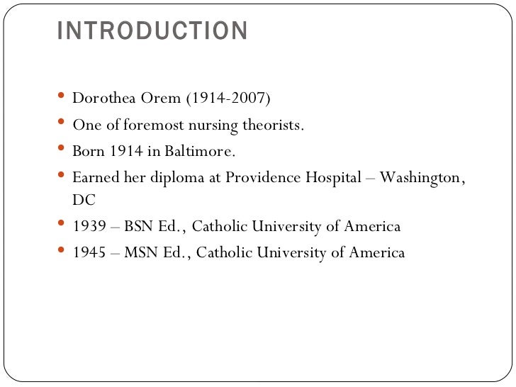 Orem nursing theory essay