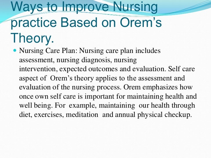 nursing theory plan of care