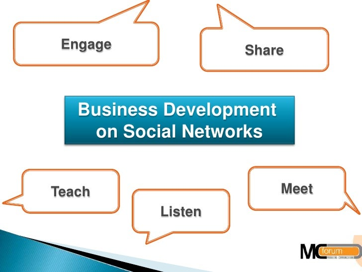 Engage<br />Share<br />Business DevelopmentonSocialNetworks<br />Meet<br />Teach<br />Listen<br />
