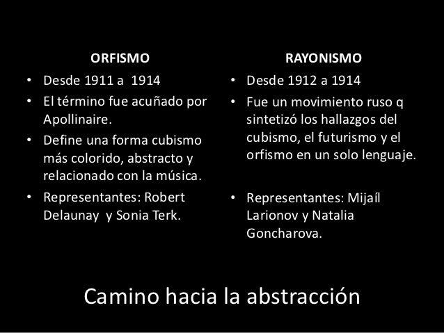 ORFISMO                      RAYONISMO•   Desde 1911 a 1914            • Desde 1912 a 1914•   El término fue acuñado por  ...
