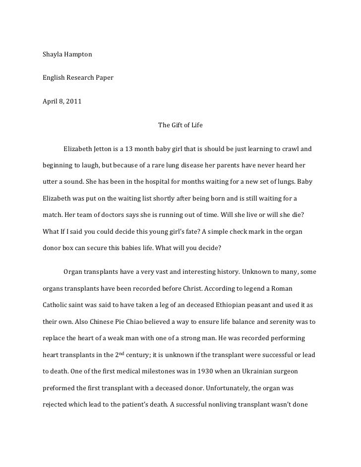 Essay on organ donation
