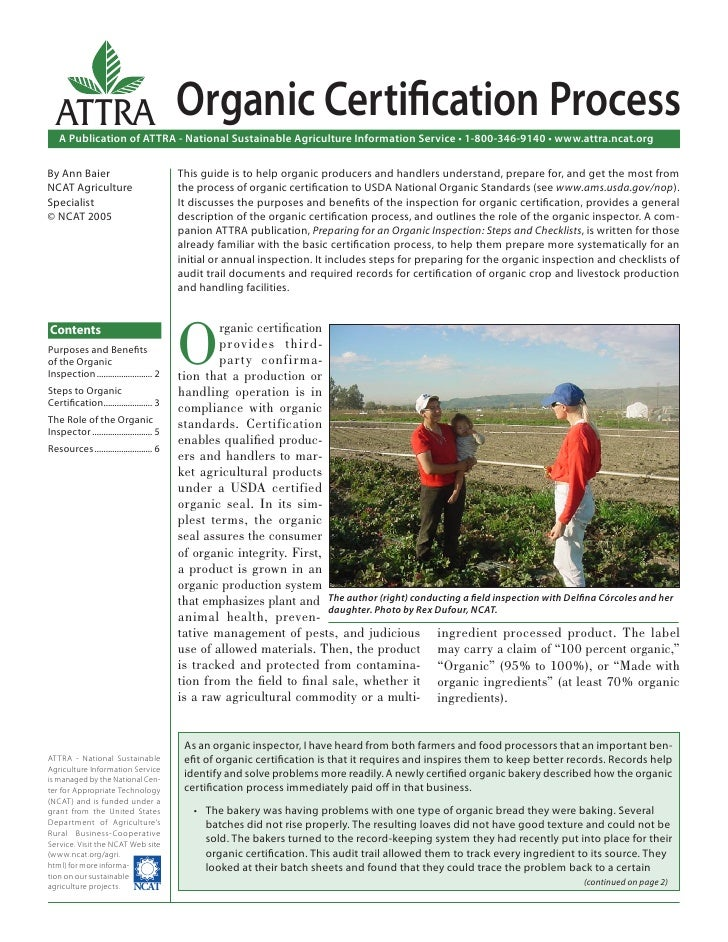 ATTRA                                   Organic Certification Process   A Publication of ATTRA - National Sustainable Agric...