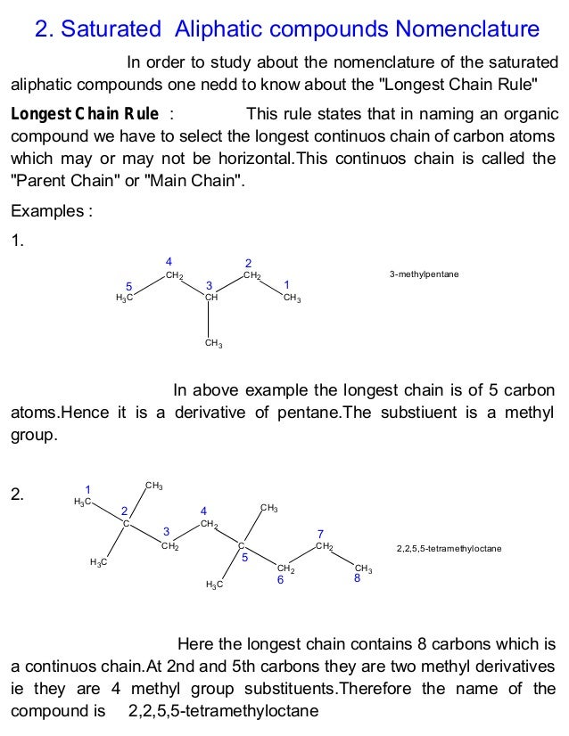 examples of nomenclature of organic compounds pdf