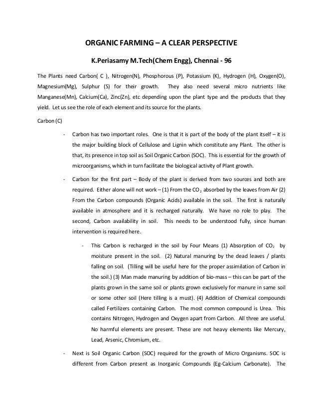 ORGANIC FARMING – A CLEAR PERSPECTIVE                          K.Periasamy M.Tech(Chem Engg), Chennai - 96The Plants need ...