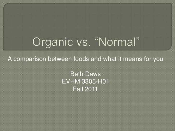 A comparison between foods and what it means for you                    Beth Daws                  EVHM 3305-H01          ...