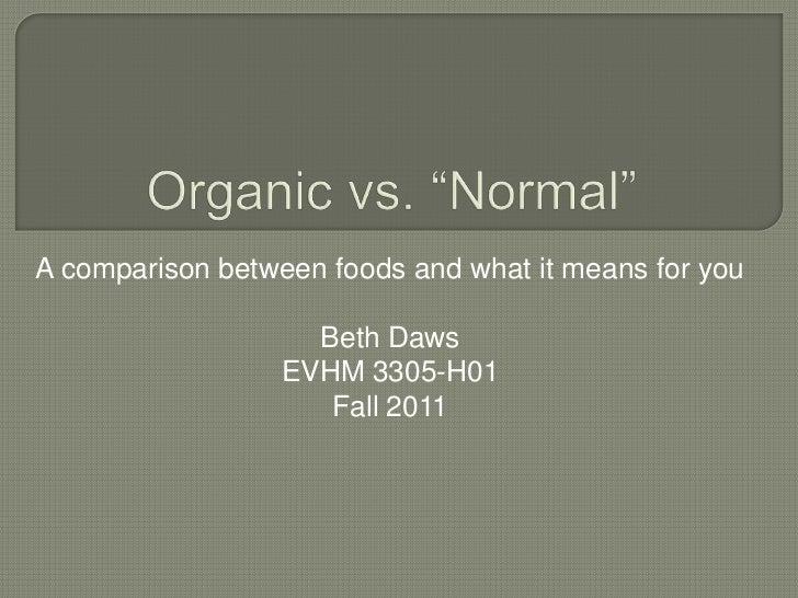Organic foods  beth daws