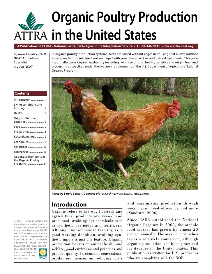 Organic Poultry ProductionATTRA in the United States    A Publication of ATTRA - National Sustainable Agriculture Informat...