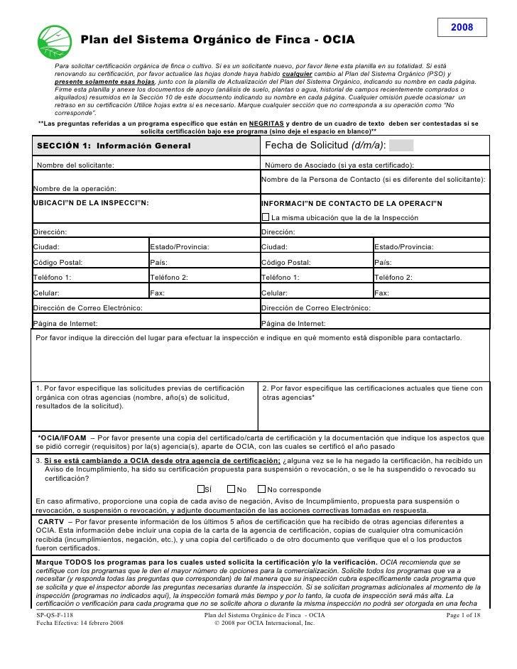 2008               Plan del Sistema Orgánico de Finca - OCIA      Para solicitar certificación orgánica de finca o cultivo...