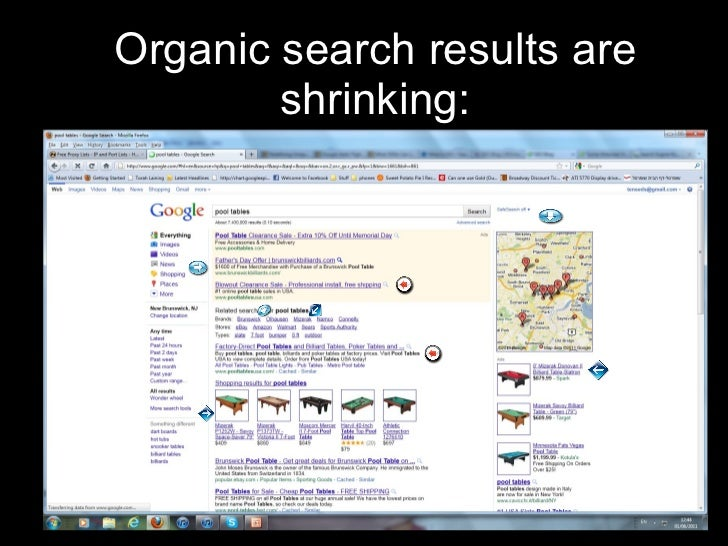 Organic search results are shrinking