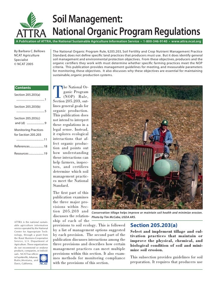 Soil Management:  ATTRA National Organic Program Regulations  A Publication of ATTRA, the National Sustainable Agriculture...