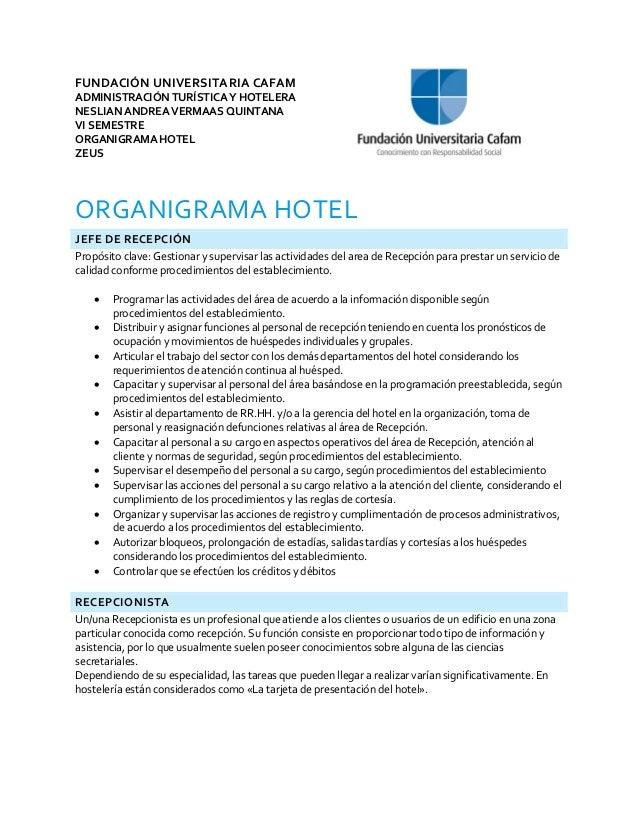 Organigrama hotel for Descripcion de habitaciones de un hotel