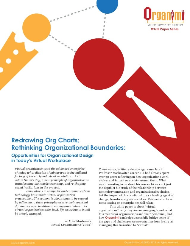 Redrawing Org Charts; Rethinking Organizational Boundaries: Opportunities for Organizational Design in Today's Virtual Workplace