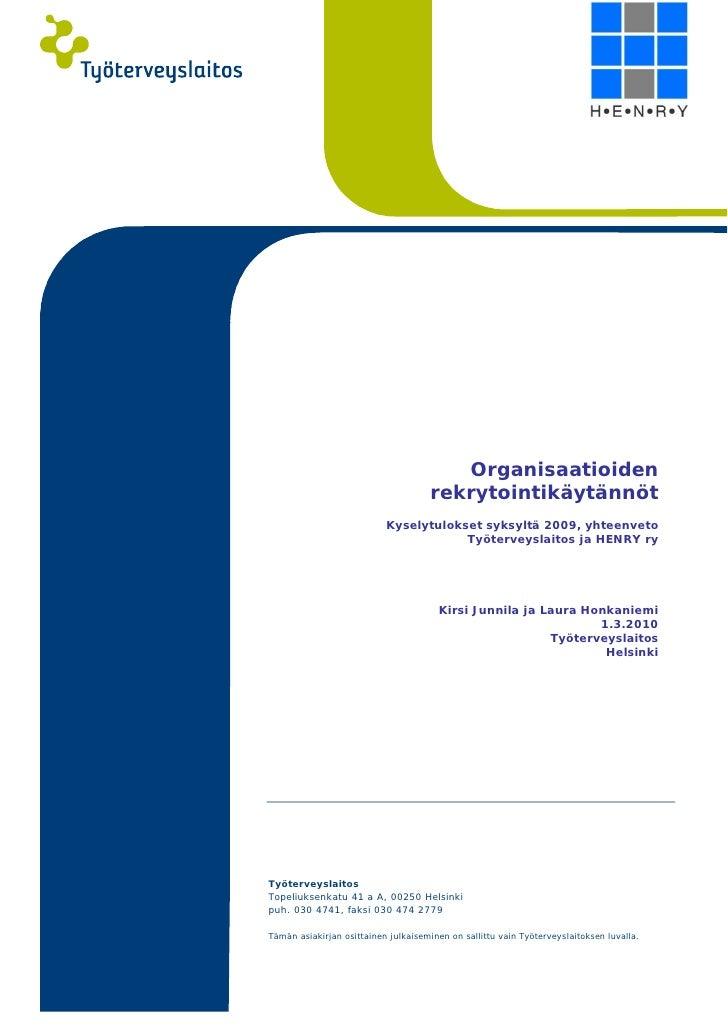 Organisaatioiden Rekrytointikaytannot 2009
