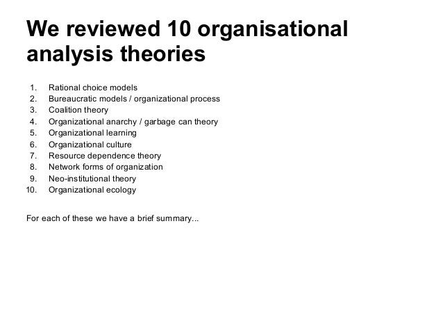 organisational analysis Course title: organisational analysis part a: course  it develops organisational analysis and critical reasoning skills through the application and assessment of.