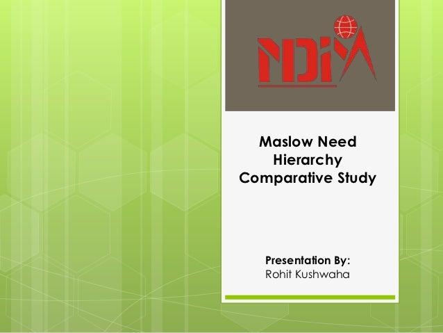 Maslow Need   HierarchyComparative Study   Presentation By:   Rohit Kushwaha