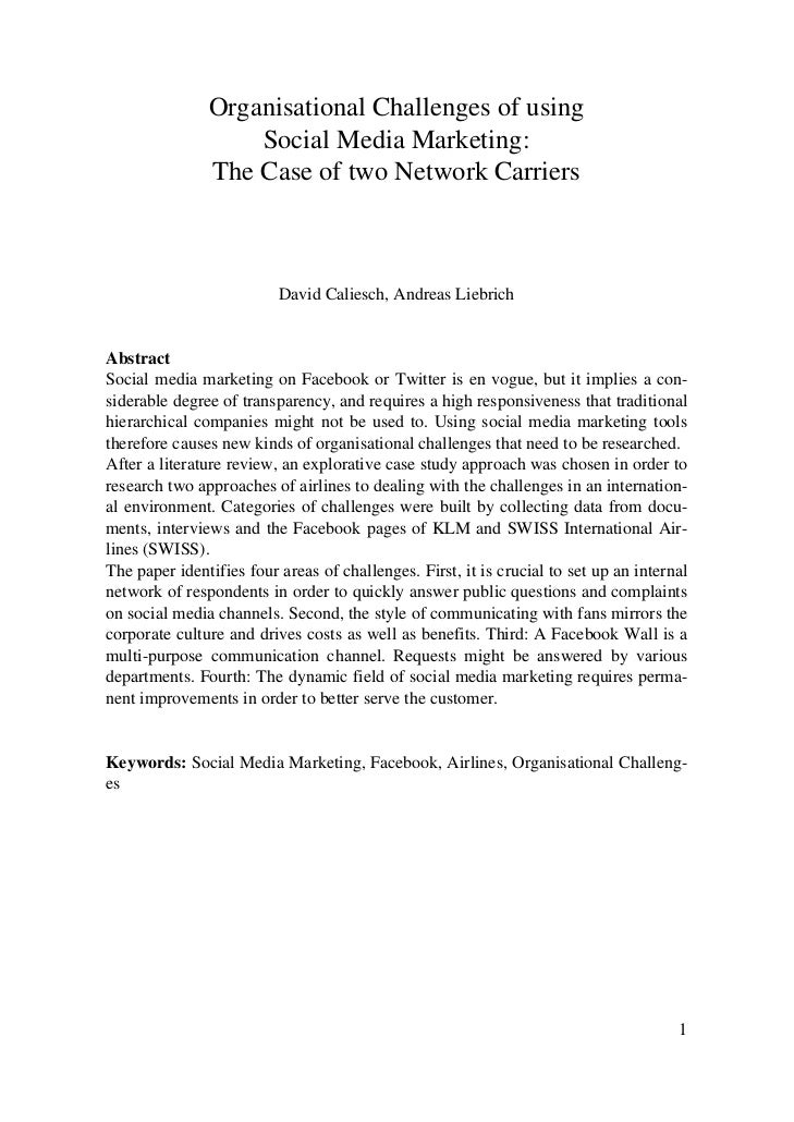 Organisational Challenges of using                   Social Media Marketing:               The Case of two Network Carrier...