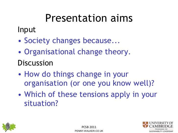 Presentation aims <ul><li>Input  </li></ul><ul><li>Society changes because... </li></ul><ul><li>Organisational change theo...