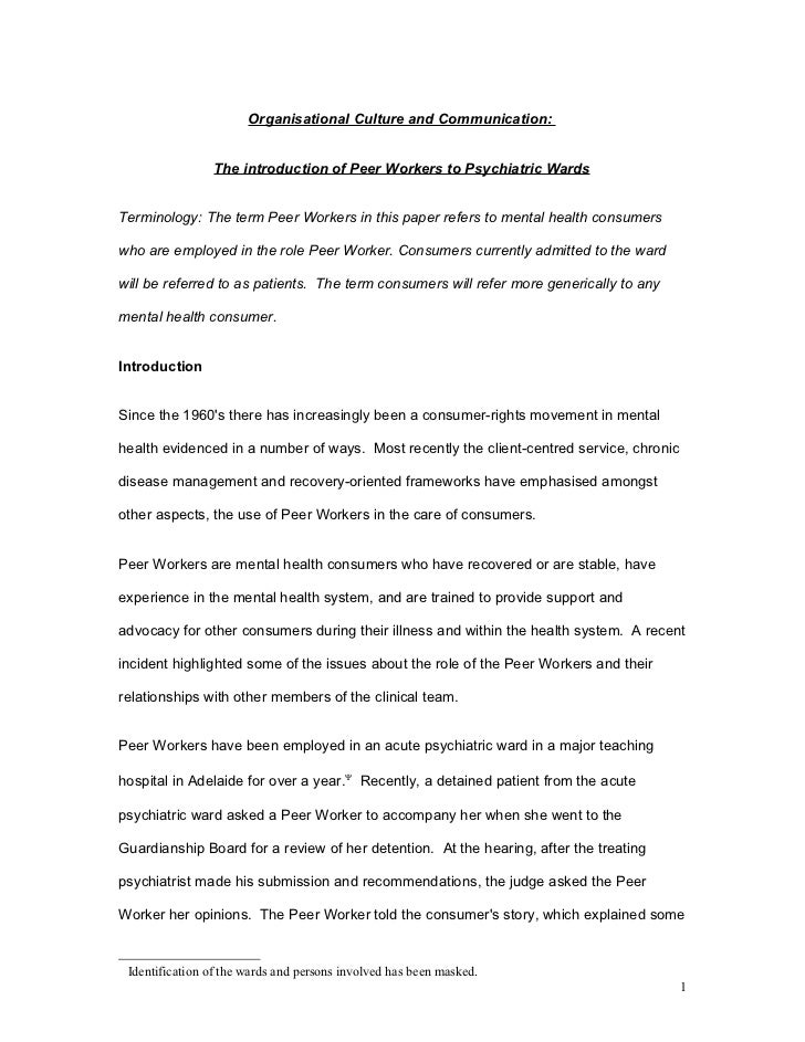 Organisational Culture and Communication:                 The introduction of Peer Workers to Psychiatric WardsTerminology...