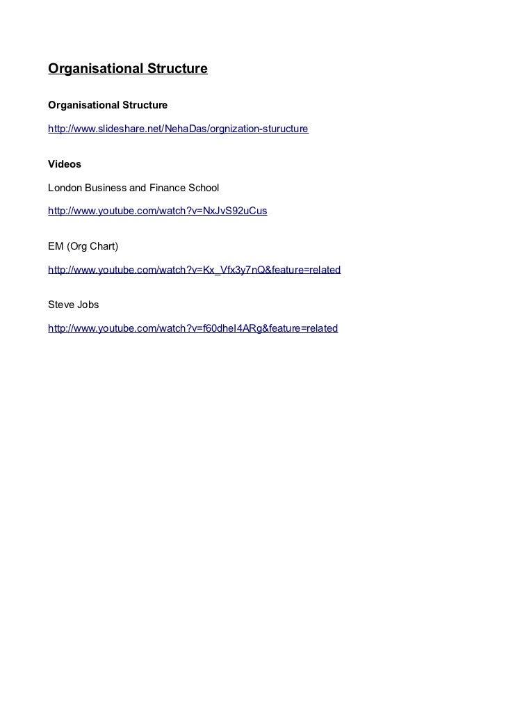 Organisational StructureOrganisational Structurehttp://www.slideshare.net/NehaDas/orgnization-stuructureVideosLondon Busin...