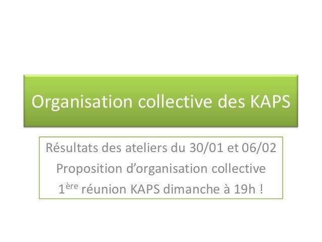 Organisation collective des KAPS Résultats des ateliers du 30/01 et 06/02  Proposition d'organisation collective   1ère ré...