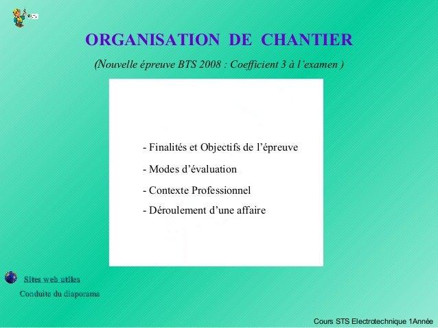 ORGANISATION DE CHANTIER (Nouvelle épreuve BTS 2008 : Coefficient 3 à l'examen ) - Contexte Professionnel - Finalités et O...