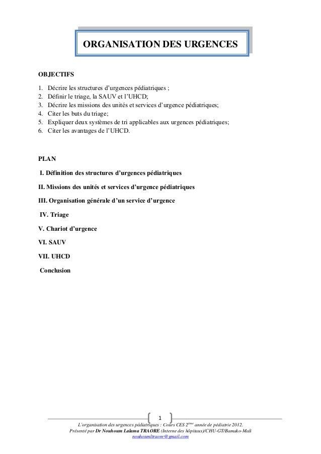 Organisation des urgences 2012 pédiatrie chu gabriel toure