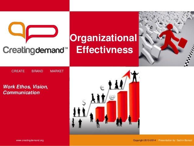 Organizational Effectivness CREATE BRAND MARKET www.creatingdemand.org Copyright 2013-2014 Presentation by: Sachin Bansal ...
