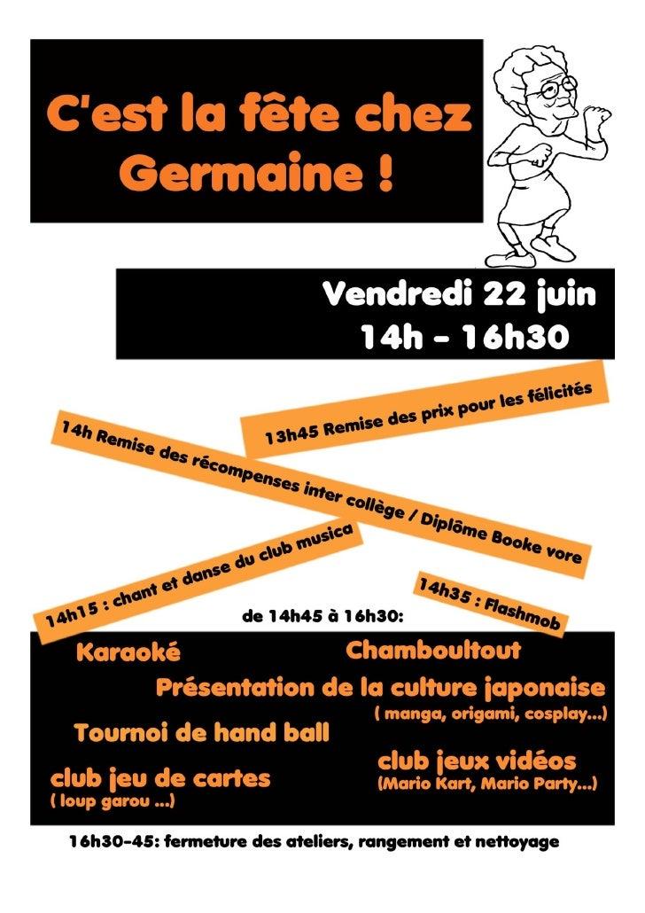 Inscrivez-vous pour un  tournoi de tennis de table !            de 14h45 à 16h30    pendant la fête du collège le 22 juin ...
