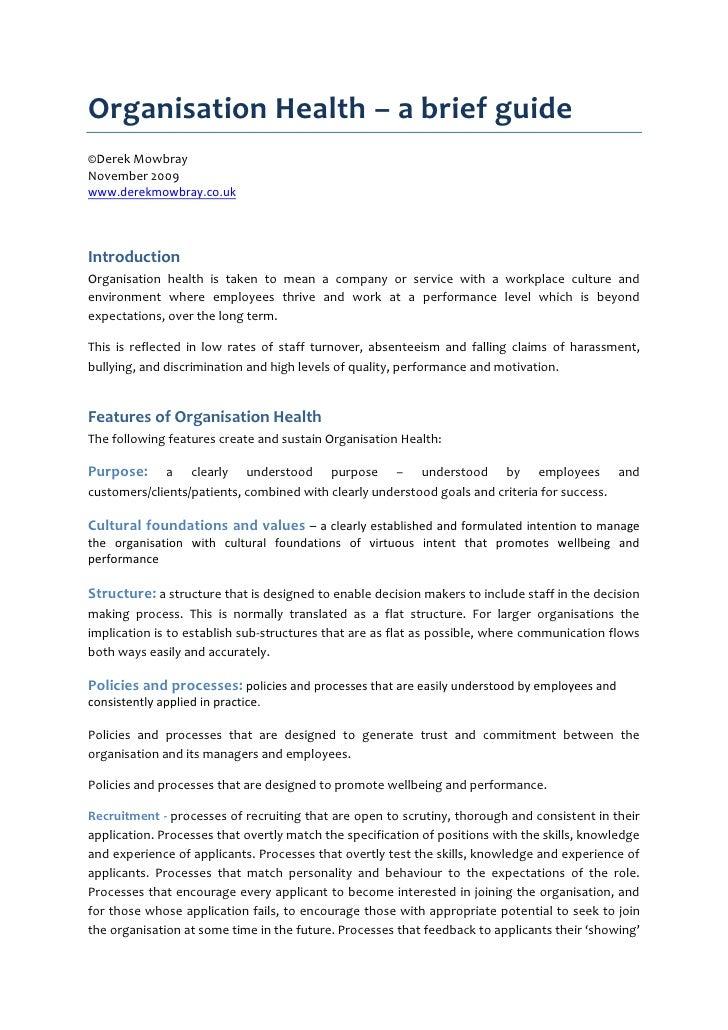Organisation Health – a brief guide ©Derek Mowbray November 2009 www.derekmowbray.co.uk    Introduction Organisation healt...