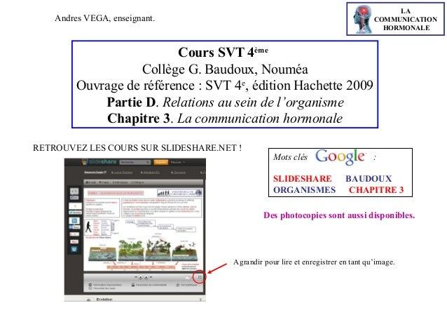 LA COMMUNICATION HORMONALE  Andres VEGA, enseignant.  Cours SVT 4ème Collège G. Baudoux, Nouméa Ouvrage de référence : SVT...