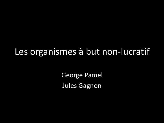 Les organismes à but non-lucratif George Pamel Jules Gagnon