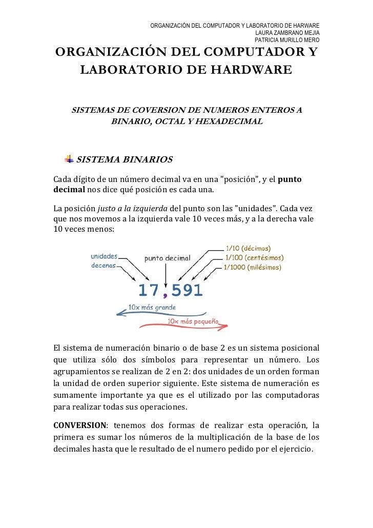 ORGANIZACIÓN DEL COMPUTADOR Y LABORATORIO DE HARWARE                                                            LAURA ZAMB...