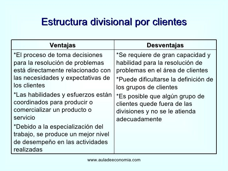 Estructura Por Clientes Estructura Divisional Por
