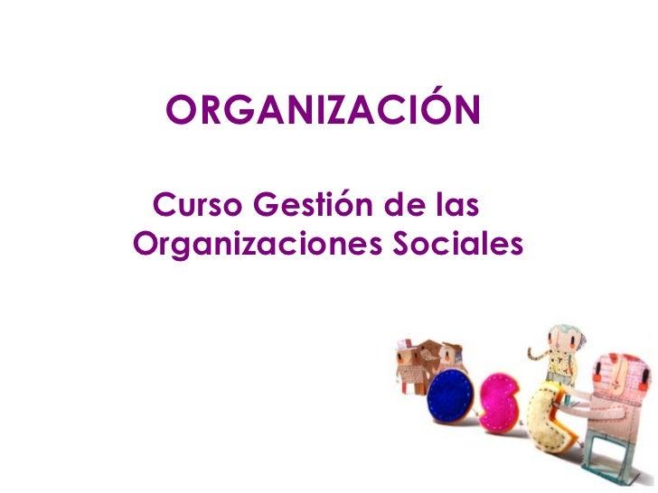 ORGANIZACIÓN Curso Gestión de las Organizaciones Sociales