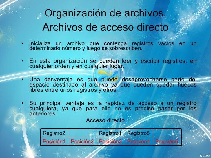 <ul><li>Inicializa un archivo que contenga registros vacíos en un determinado número y luego se sobrescriben. </li></ul><u...